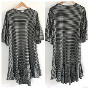 LuLaRoe Army Green and Gray Striped Maurine Dress